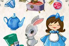 爱丽丝梦游仙境矢量图