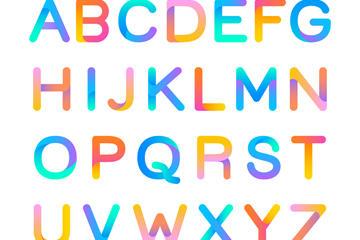 彩色渐变英文字母矢量图