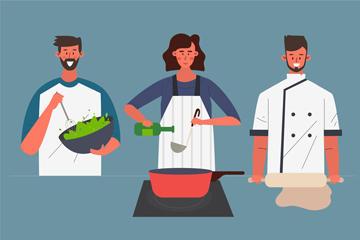 三款厨师人物插画图片