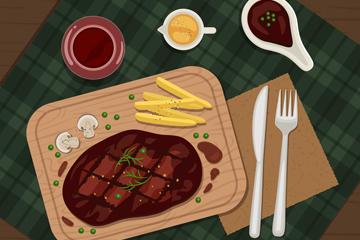 牛排西餐矢量图