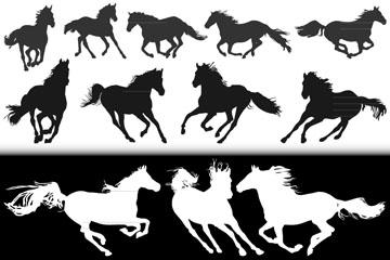 奔跑骏马剪影矢量图