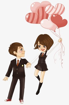 情侣牵手动漫背景图片