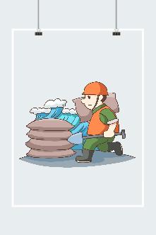 消防员抗洪图片插画