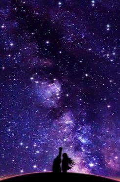 紫色星空人物背景图片