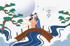 手绘卡通七夕相会图片