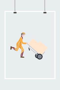 快递员推着小推车奔跑卡通图片
