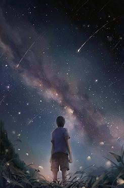独自一人仰望星空二次元图片