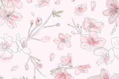 粉色桃花无缝背景图片