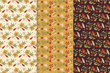 复古秋季树叶无缝背景矢量图