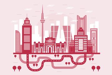 水彩城市建筑剪影