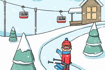 彩绘冬季滑雪场人物矢量素材