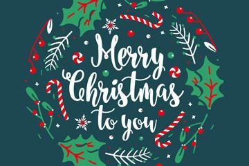 圆形圣诞祝福字体矢量图
