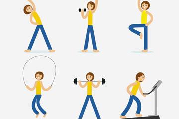 6款创意健身女子矢量素材