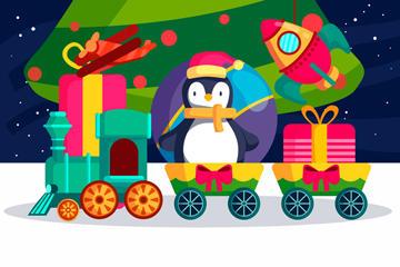 火车玩具玩偶矢量图