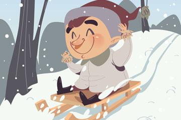 卡通坐雪橇滑雪的男孩矢量素材