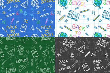 4款手绘校园元素背景图片