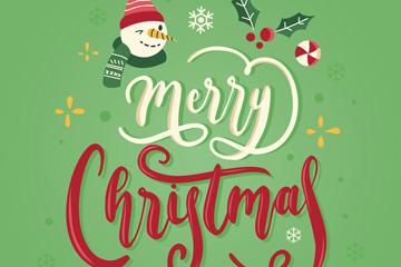雪人元素圣诞艺术字矢量图