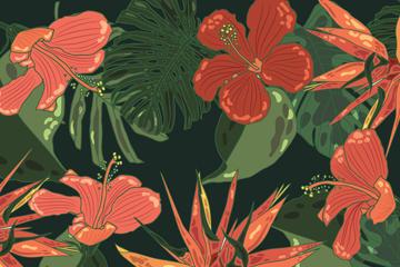 手绘风热带花卉背景图片