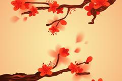 水彩梅花矢量图