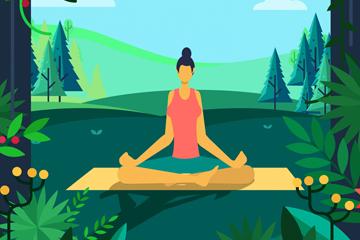 创意郊外练瑜伽的女子矢量素材