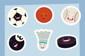 9款创意球类卡通矢量图片
