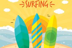 彩色海边冲浪版矢量素材
