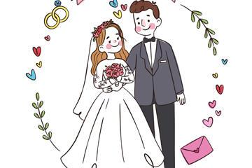 幸福婚礼的新人插画