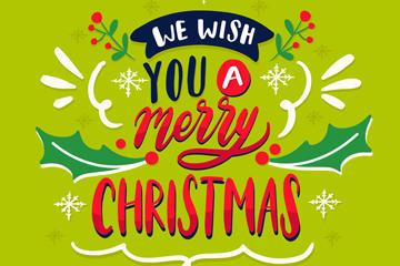 彩色圣诞祝福字体矢量图