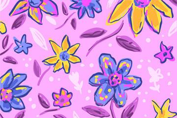 彩色手绘花卉背景图片