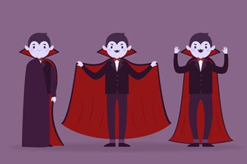 卡通吸血鬼矢量图