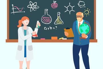 化学老师黑板矢量图