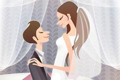 新郎新娘甜蜜婚礼矢量素材