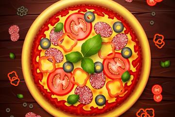 美味披萨矢量素材
