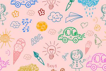 彩绘儿童和玩具无缝背景矢量图
