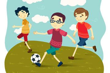 踢足球学生插画矢量素材