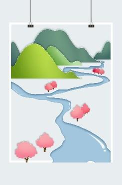 河流群山桃花矢量图