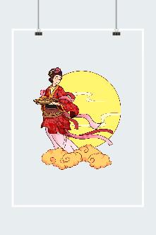 中秋仙女嫦娥送月饼图片
