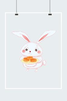 中秋节玉兔月饼矢量图