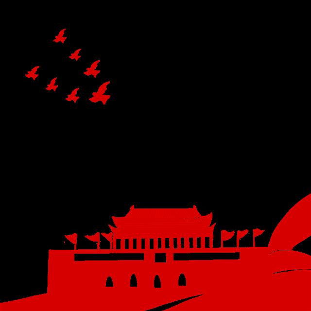 红色天安门剪影矢量图