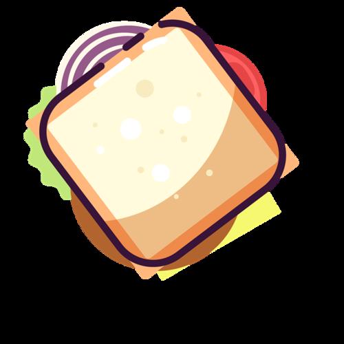 夹心面包矢量图