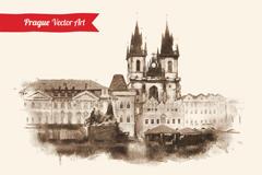欧式建筑水墨画图片
