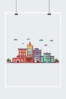 城市建筑插画