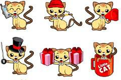 11款卡通小猫咪矢量图