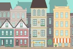 卡通城镇建筑矢量图