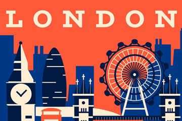 波普风伦敦建筑矢量图
