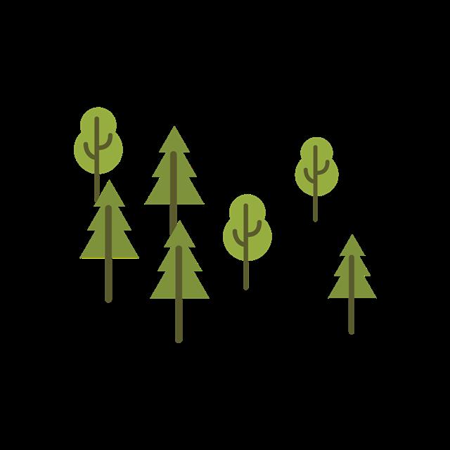 卡通绿色树木