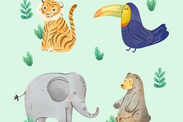 彩绘大象矢量图