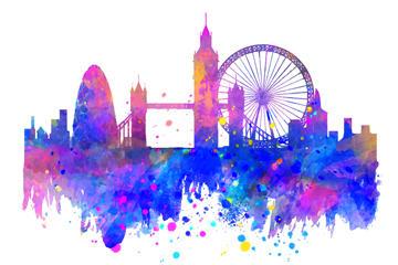 英国伦敦建筑剪影矢量图