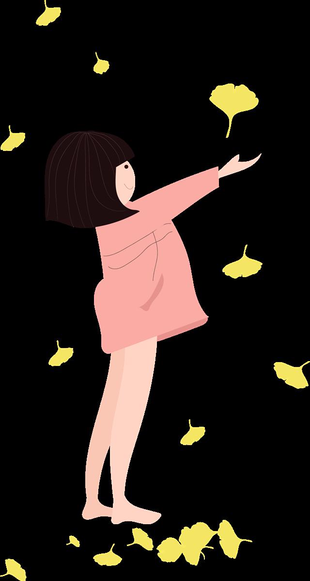 秋季人物插画