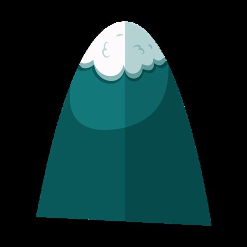青色雪顶山峰免抠图